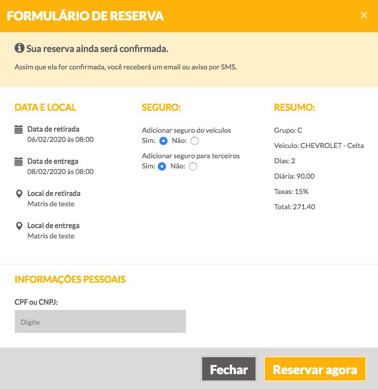 Reserva de veículo online - 7Carros